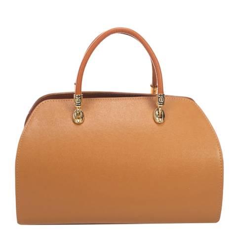 Massimo Castelli Tan Top Handle Leather Bag