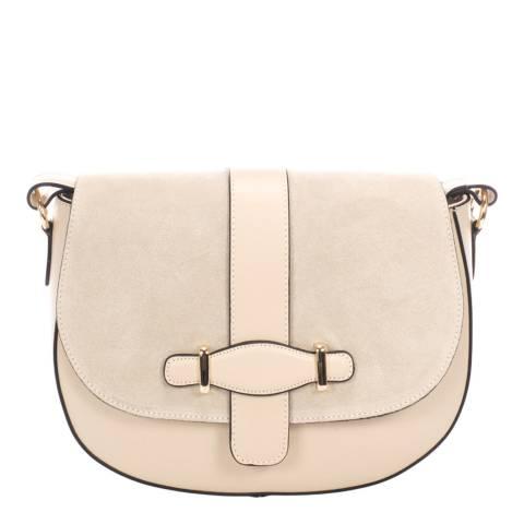 Giorgio Costa Cream Leather Crossbody Bag