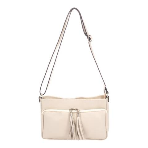 Giorgio Costa Cream Tassel Crossbody Leather Bag