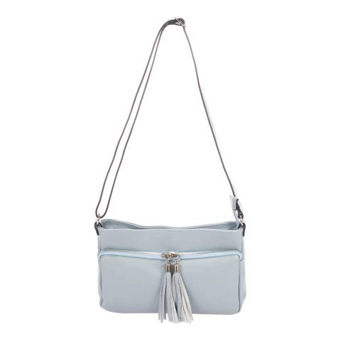 Giorgio Costa Light Blue Tassel Crossbody Leather Bag