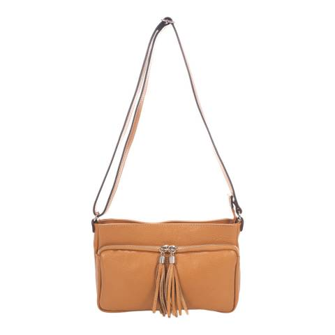 Giorgio Costa Tan Tassel Crossbody Leather Bag