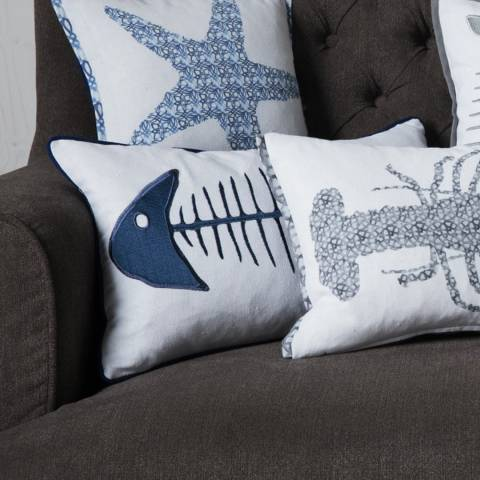 Gallery Blue/White Fishbone Embroidered Cushion 30x50cm