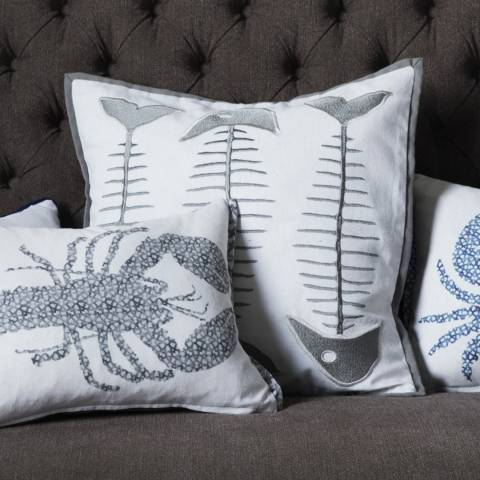 Gallery Grey Fishbone Embroidered Cushion 45x45cm