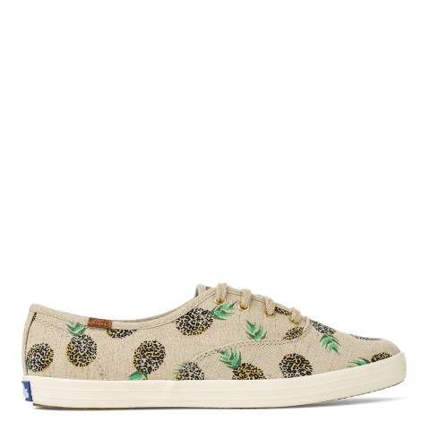 Keds Women's Beige Fruit Print Canvas Champion Low Top Sneakers