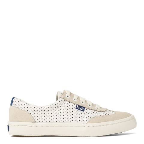 Keds Women's White And Blue Tournament Perforated Leather Sneakers