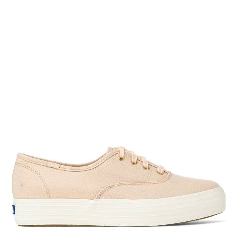 Keds Women's Rose Gold Canvas Metallic Triple Stack