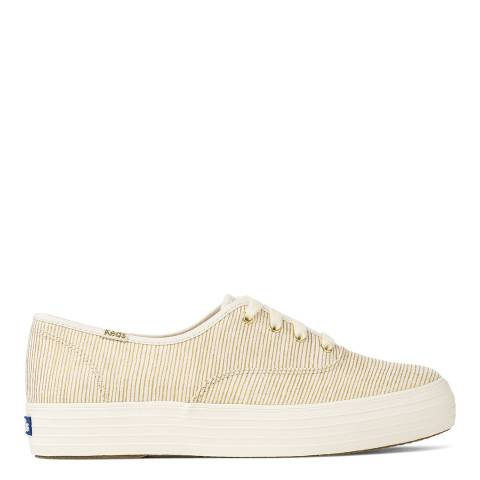 Keds Women's Cream And Gold Canvas Metallic Stripe Triple Stack