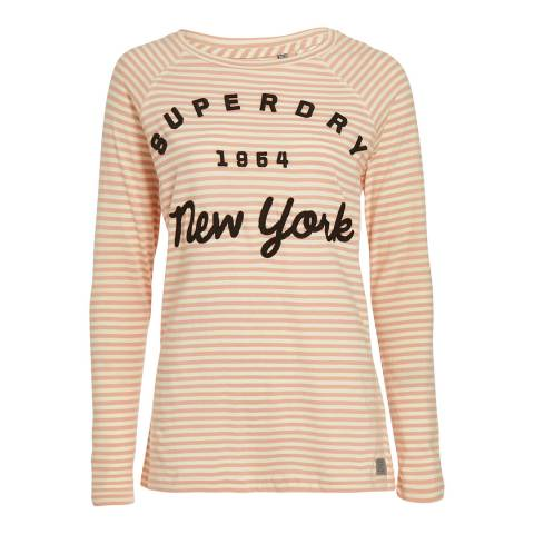 Superdry Blush Pink/Cream Stripe Applique Raglan Stripe Top