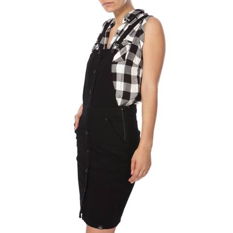 Superdry Black Pencil Dungaree Dress