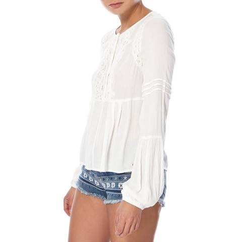 Superdry Off White Roswell Lacy Blouse