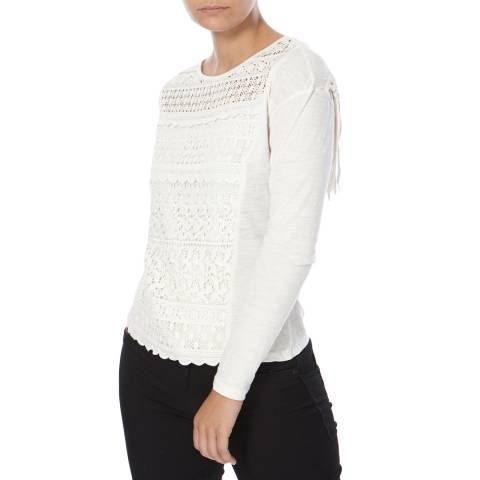 Superdry Off White Colorado Fringe Lace Top
