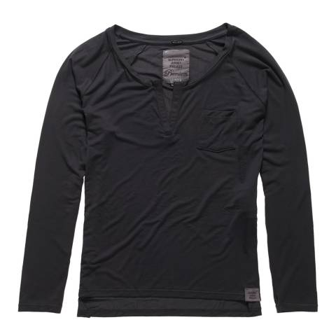 Superdry Blackboard Charcoal Luxe Notch Neck Long Sleeve T-Shirt