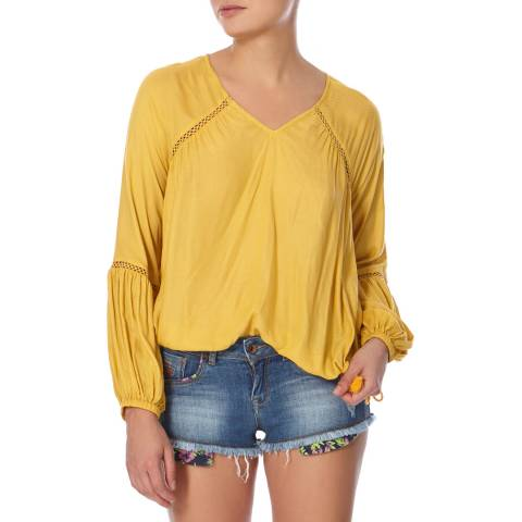 Superdry Sandy Ochre Wichita Smock Blouse