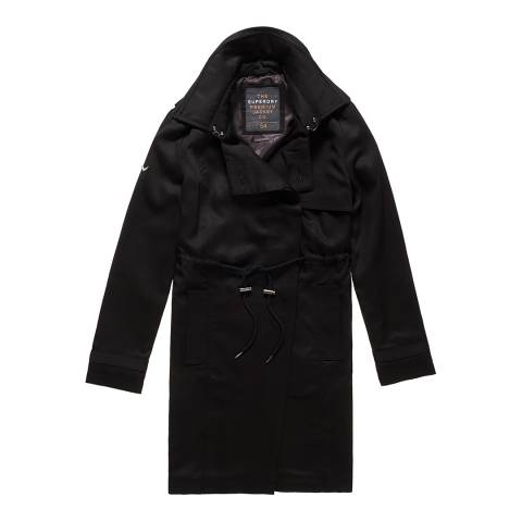Superdry Black Winter Draped Trench