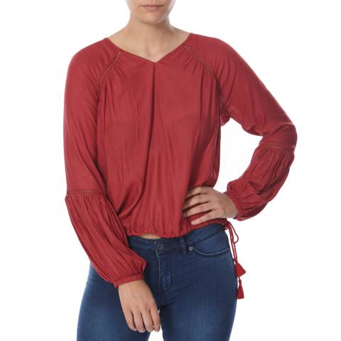 Superdry Desert Red Wichita Smock Blouse