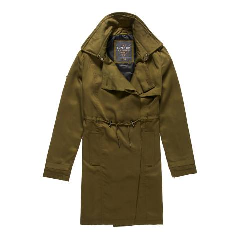 Superdry Khaki Winter Draped Trench