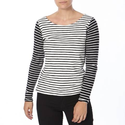 Superdry Black and White Textured Breton Top
