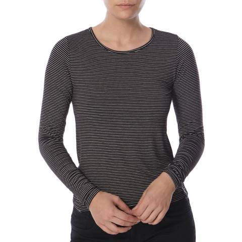 Superdry Black/Ecru Nordic Viscose Stripe Long Sleeve Top