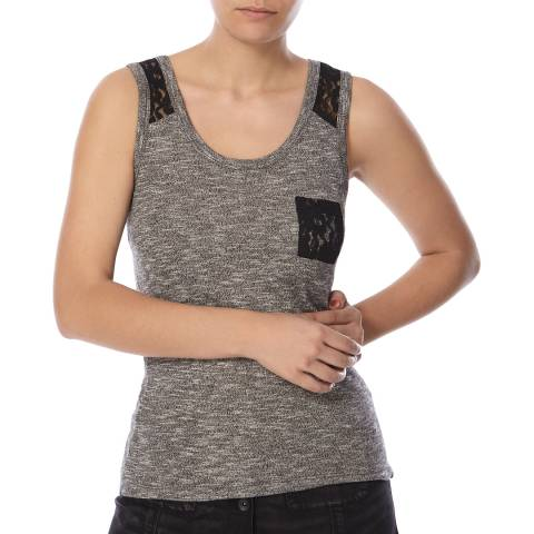 Superdry Charcoal Slubby Twist Jersey Lace Tank Top