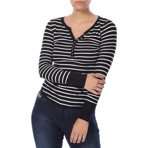 Superdry Eclipse Navy/White Stripe Grandad Top