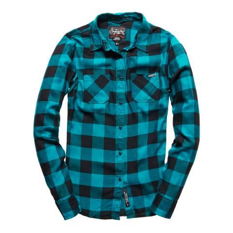 Superdry Teal Gingham Super Classic Boyfriend Shirt
