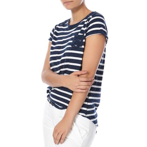 Superdry Rugged Navy Super Sewn Stripe Pocket T-Shirt