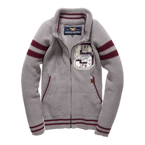 Superdry Grey and Burgundy Varsity Knit Bomber