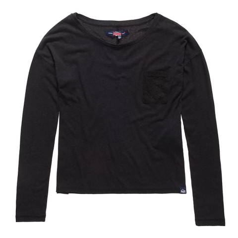 Superdry Black Viscose Neppy Long Sleeve T-Shirt
