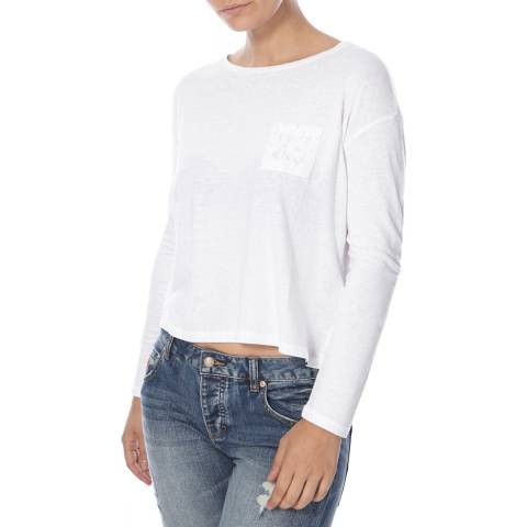 Superdry White Viscose Neppy Long Sleeve Top