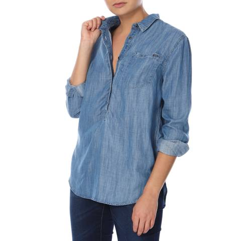 Superdry Classic Blue Wash Overhead Tencel Shirt