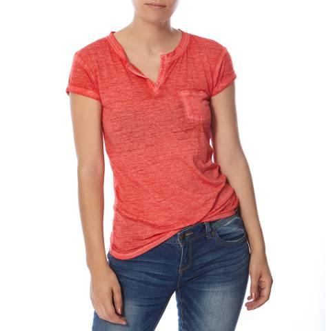 Superdry Savannah Red Burnout Notch Neck Pocket T-Shirt