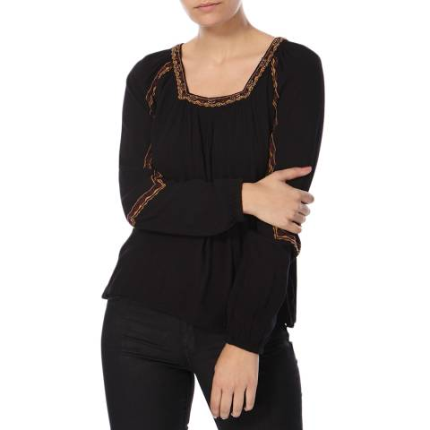 Superdry Black Topeka Square Neck Blouse