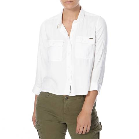 Superdry Off White Amalfi Cropped Shirt