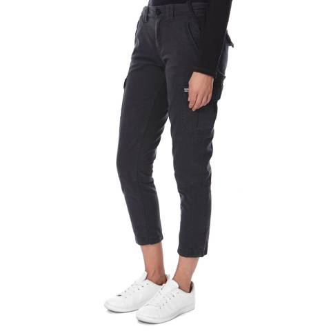 Superdry Washed Black Boyfriend Cargo Trousers