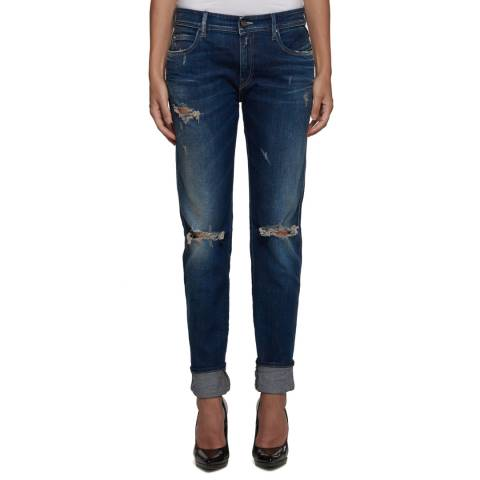 Replay Indigo Cotton Stretch Slim Distressed Jeans