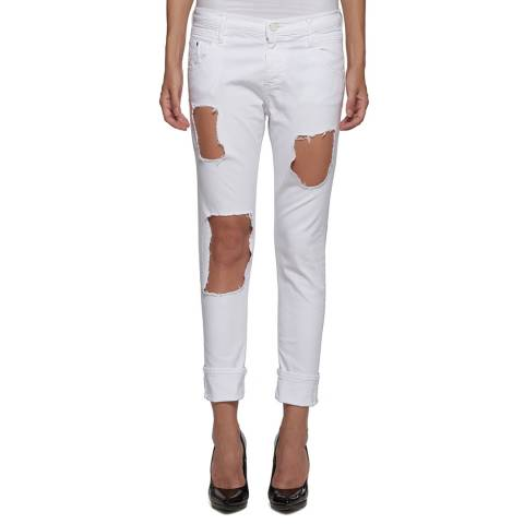 Replay White Cotton Stretch Low Rise Straight Ripped Jeans