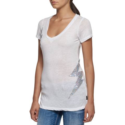 Replay White  Cotton Blend Glitter Lightning Bolt T Shirt