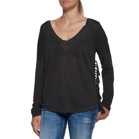 Replay Charcoal Long Sleeve Cotton T Shirt