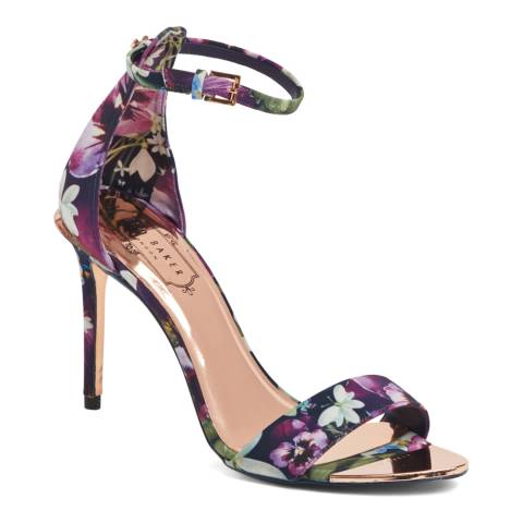 Ted Baker Purple Floral Print Charv Ankle Strap Sandals