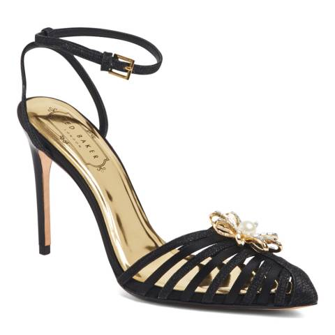Ted Baker Black Leather Embellished Zhine Sling Back Sandals