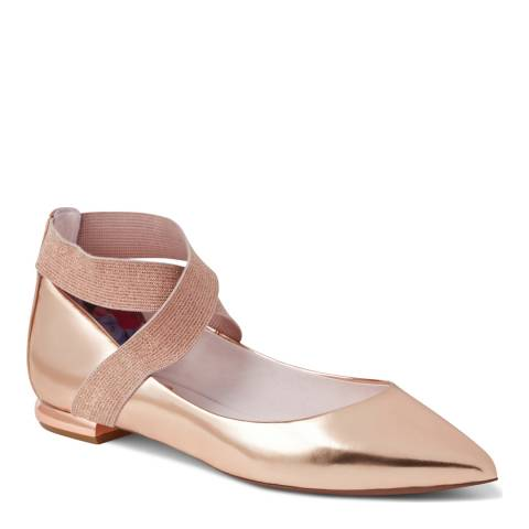 Ted Baker Rose Gold Leather Cencae Cross Strap Flats