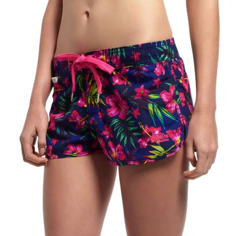 Superdry Navy Painted Hibiscus Board Shorts