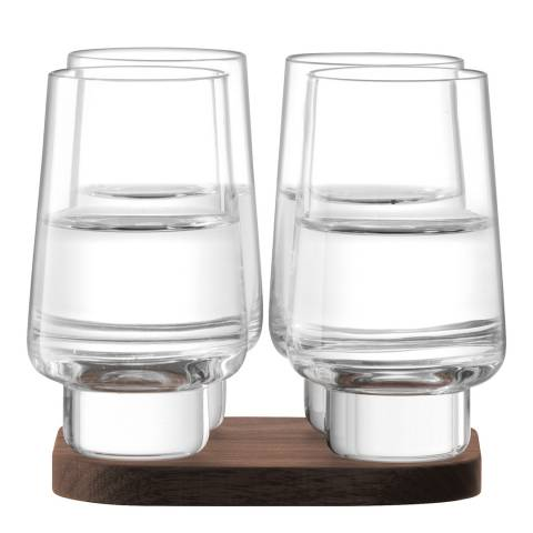 LSA Set Of Four City Bar Vodka Glass And Walnut Coaster