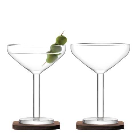 LSA Set of 2 City Bar Cocktail Glasses & Walnut Coaster