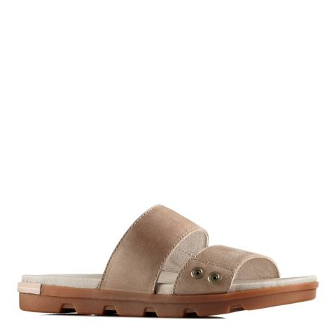 Sorel Women's Sahara Fossil Leather Torpeda II Slide Sandals