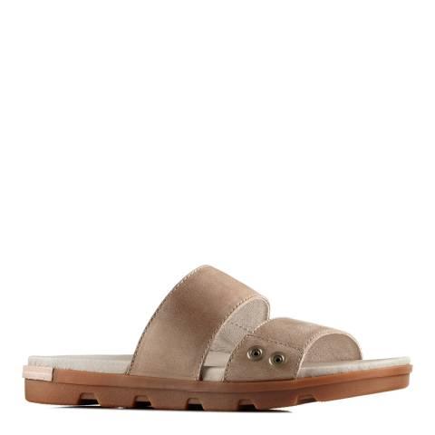 Sorel Women's Sahara Fossil Leather Torpeda II Slide Sandals