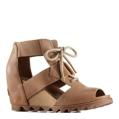 Sorel Women's Sahara Fawn Leather Joanie Lace Wedge Sandals