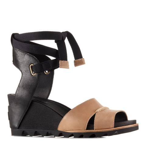 Sorel Women's Black Leather Joanie Wrap Wedge Sandals
