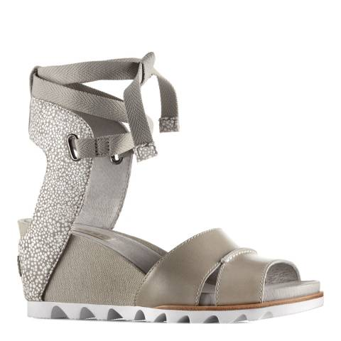 Sorel Women's Dove Grey Leather Joanie Wrap Wedge Sandals