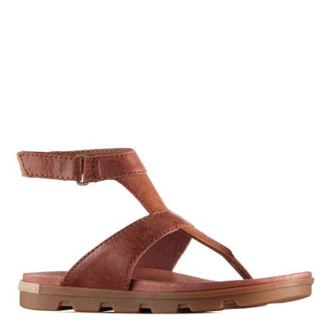 Sorel Women's Rustic Brown Cordovan Leather Ankle Strap Sandals